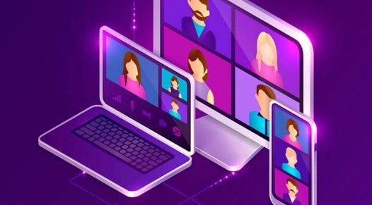 illustration of video calls on various electronic devices, trade show marketing, virtual, Skyline Entourage