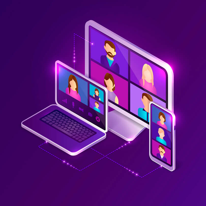 illustration of video calls on various electronic devices, trade show marketing, Virtuel, Skyline Entourage