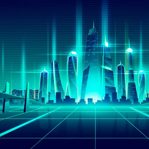 Illustration of a virtual cityscape, virtual trade show solutions, digital event, Skyline Entourage