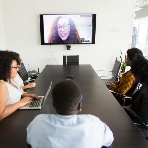 Conference call connecting via video call, virtual event solutions, Hybrid Events, Skyline Entourage