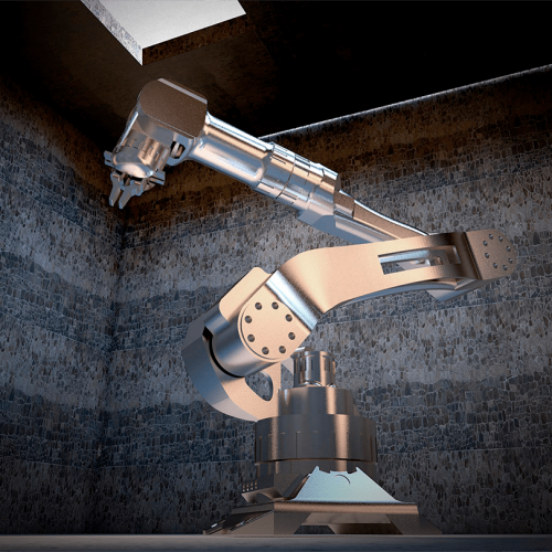 3D model of a cybernetic arm, virtual trade show solutions, Skyline Entourage