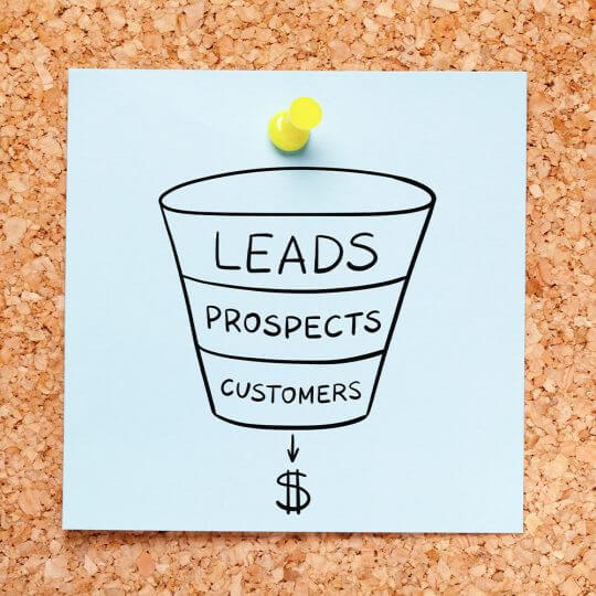 Sales funnel starting with leads then prospects then customers ending up with sales, Trade Show lead follow up, SEO pour salons, skyline entourage
