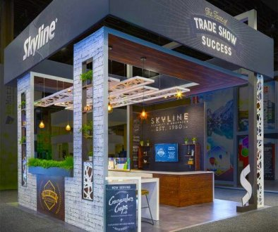 Skyline exhibits booth, exhibit design changes, post-pandemic, 2021,skyline entourage