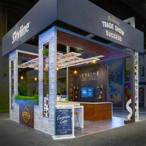 Skyline exhibits booth, exhibit design changes, post-pandemic, 2021,skyline entourage