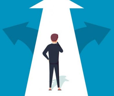 A person standing on a white arrow trying to decide which direction to go, trade show selection, choose your trade show, skyline entourage
