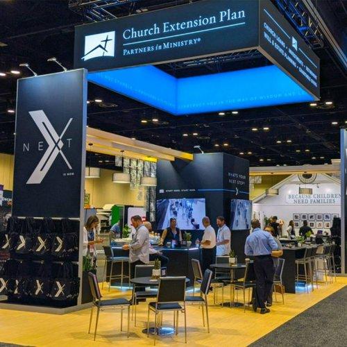 Church Extension Plan, Island Trade Show Booth, Custom Exhibits, Skyline Exhibits