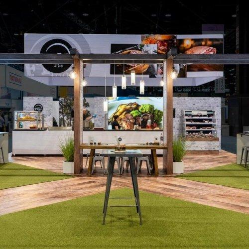 FPL Food LLC, Custom Island Exhibit, Trade Show Booth, Skyline, Food Shows