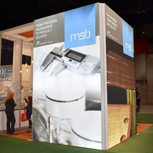 MSB, 20x20 custom island booth, custom exhibit, island booths, skyline entourage