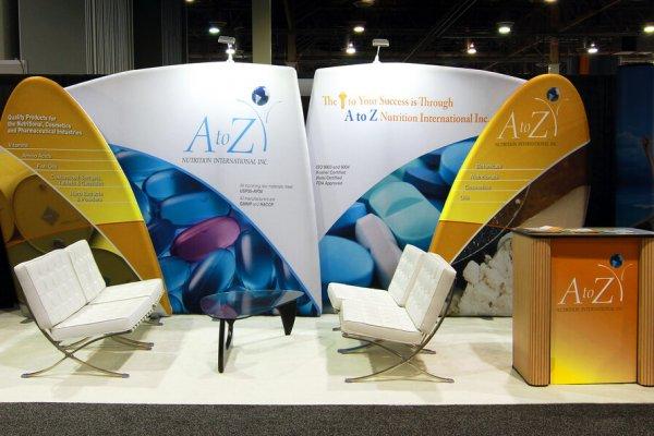 AtoZ Nutrition International Inc., 10x20 Portable Stands, Skyline Exhibits, Skyline Entourage