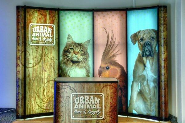 Urban Animal, 10x10 Portable Stands, Backlit Display, Skyline Exhibits, Skyline Entourage